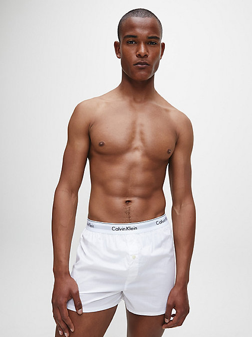 CALVIN KLEIN 2 Pack Slim Fit Boxers - Modern Cotton - WHITE / WHITE - CALVIN KLEIN NEW ICONS - detail image 1