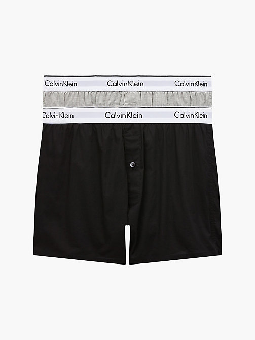 CALVINKLEIN 2-pack slim fit boxers - Modern Cotton - BLACK / GREY HEATHER - CALVIN KLEIN MULTIPACKS - main image