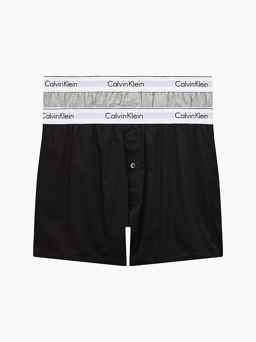 CALVINKLEIN 2 Pack Slim Fit Boxers - Modern Cotton - RYAN STRIPE D WELL/ HICKORY PLAID B - CALVIN KLEIN UNDERWEAR - main image