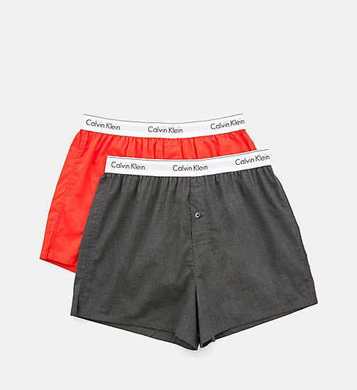 CALVINKLEIN 2 Pack Slim Fit Boxers - Modern Cotton - CHARCOAL HEATHER/ MARLOW - CALVIN KLEIN Bright Colours - detail image 1