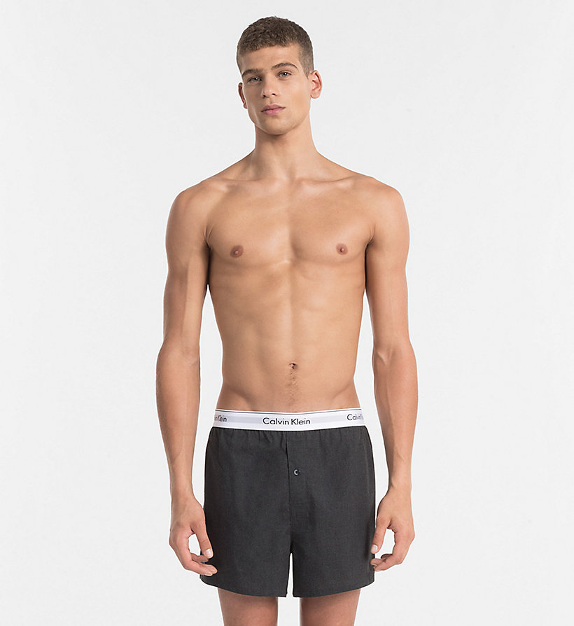 CALVINKLEIN 2 Pack Slim Fit Boxers - Modern Cotton - BLACK / GREY HEATHER - CALVIN KLEIN UNDERWEAR - detail image 3