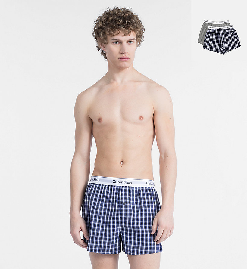 CALVINKLEIN 2 Pack Slim Fit Boxers - Modern Cotton - BLUE SHADOW/BLUE SHADOW HEATHER - CALVIN KLEIN UNDERWEAR - main image