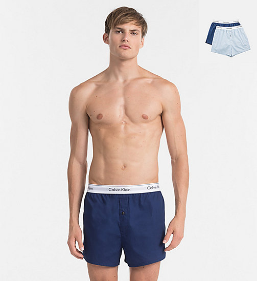 CALVINKLEIN 2 Pack Slim Fit Boxers - Modern Cotton - CHAMBRAY HEATHER/ ESTATE BLUE - CALVIN KLEIN UNDERWEAR - main image