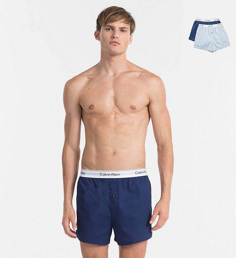CALVINKLEIN 2 Pack Slim Fit Boxers - Modern Cotton - CHARCOAL HEATHER/ MARLOW - CALVIN KLEIN UNDERWEAR - main image
