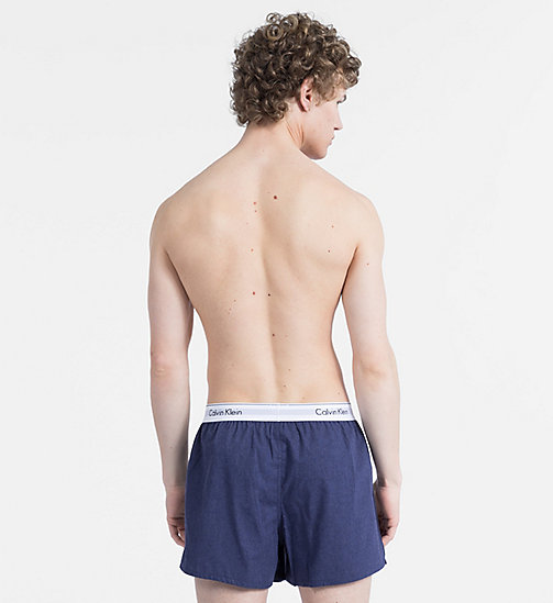 CALVINKLEIN 2 Pack Slim Fit Boxers - Modern Cotton - BLUE SHADOW/BLUE SHADOW HEATHER - CALVIN KLEIN NEW FOR MEN - detail image 1