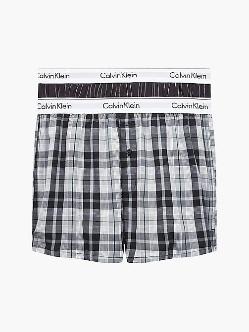 CALVIN KLEIN 2 Pack Slim Fit Boxers - Modern Cotton - RYAN STRIPE D WELL/ HICKORY PLAID B - CALVIN KLEIN UNDERWEAR - main image