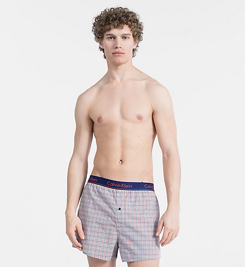 CALVIN KLEIN Slim Fit Boxers - PLAID H DARK NIGHT - CALVIN KLEIN ALL GIFTS - main image