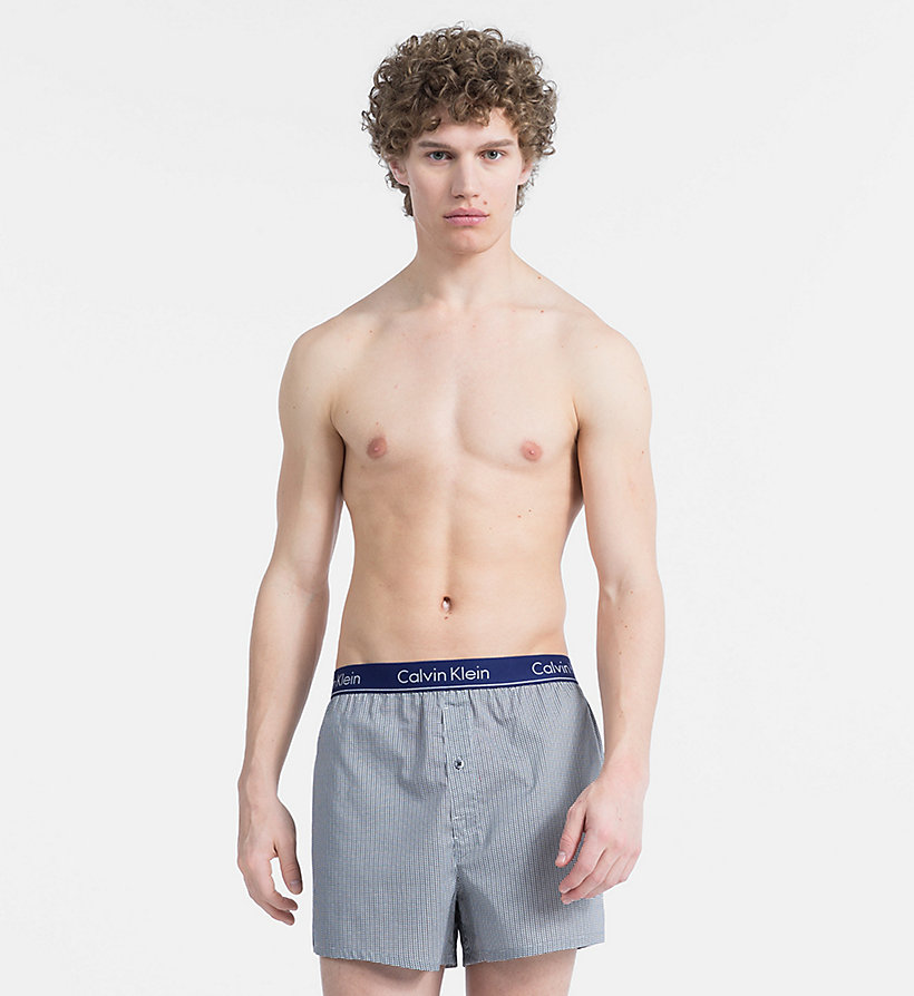 CALVIN KLEIN Slim Fit Boxers - GRAPHIC PLAID GREY SKY - CALVIN KLEIN UNDERWEAR - main image
