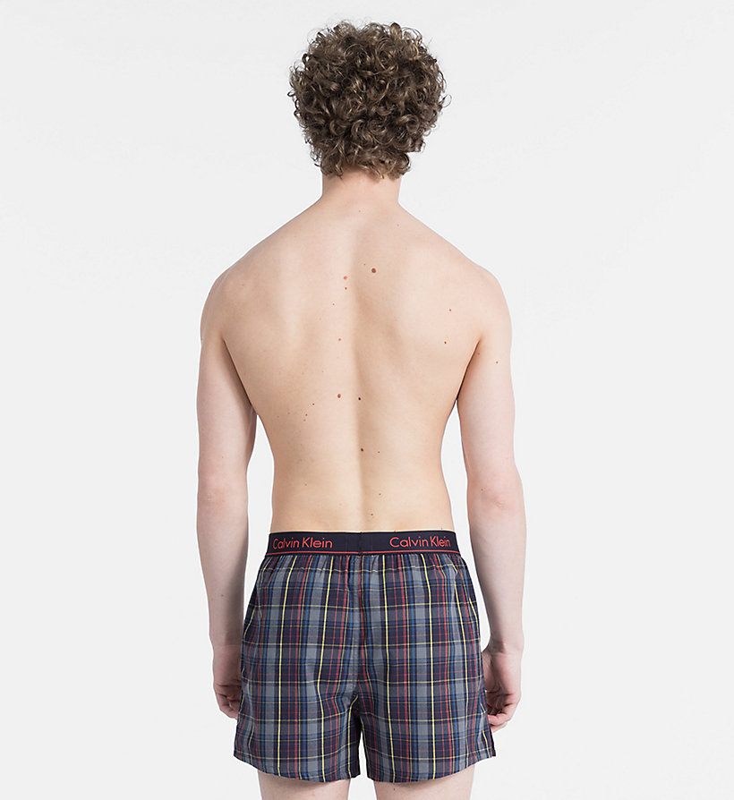 CALVIN KLEIN Slim Fit Boxers - OAK PLAID BRIGHT INDIGO - CALVIN KLEIN UNDERWEAR - detail image 1