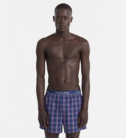 CALVINKLEIN Slim Fit Boxers - PLAID 2 ESTATE BLUE - CALVIN KLEIN BOXERS - main image