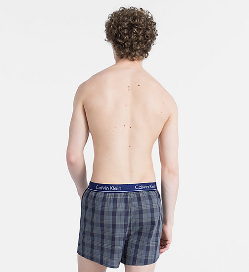 CALVIN KLEIN Slim Fit Boxers - OAK PLAID BRIGHT INDIGO - CALVIN KLEIN ALL GIFTS - detail image 1