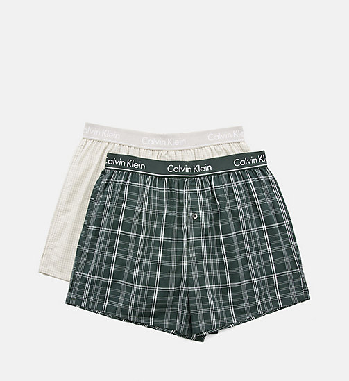 CALVINKLEIN 2 Pack Slim Fit Boxers - PLAID M INK GREEN/ CALI CHECK HEATHER GR - CALVIN KLEIN BOXERS - detail image 1