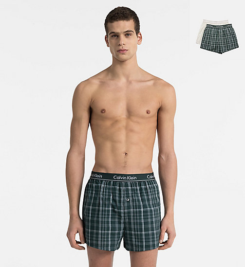 CALVINKLEIN 2 Pack Slim Fit Boxers - PLAID M INK GREEN/ CALI CHECK HEATHER GR - CALVIN KLEIN BOXERS - main image