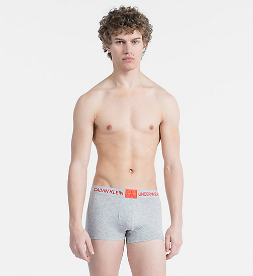CALVIN KLEIN Trunks - Monogram - GREY HEATHER W/ SPICY ORANGE PATCH - CALVIN KLEIN MONOGRAM FOR HIM - main image
