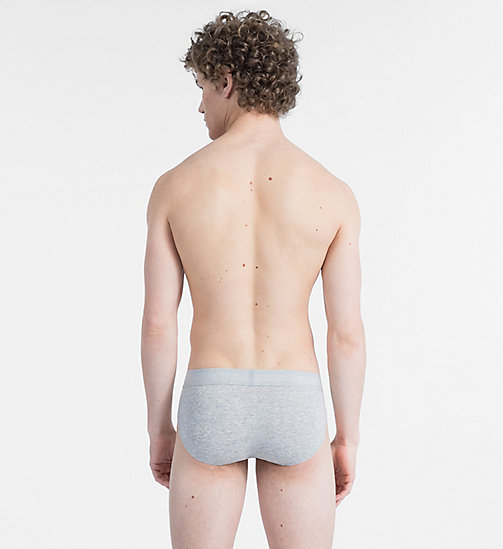 CALVINKLEIN Hip Briefs - Monogram - GREY HEATHER W/ SPICY ORANGE PATCH - CALVIN KLEIN NEW FOR MEN - detail image 1