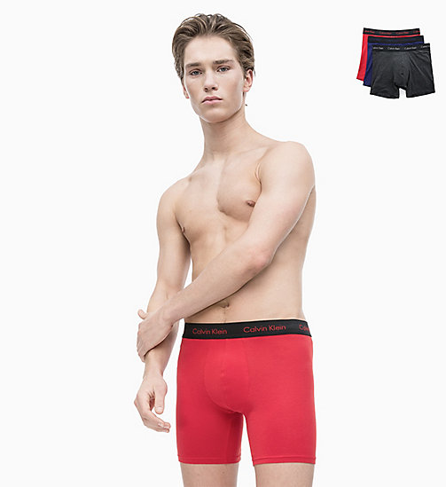 CALVIN KLEIN 3 Pack Boxers - Cotton Stretch - C - M RED/S BLUE/CHARCOAL H W/B WB - CALVIN KLEIN NEW FOR MEN - main image