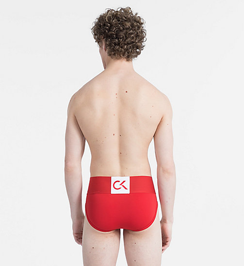 CALVIN KLEIN Hip Briefs - CK Performance - MANIC RED W/ WHITE PATCH - CALVIN KLEIN LOGO SHOP - detail image 1