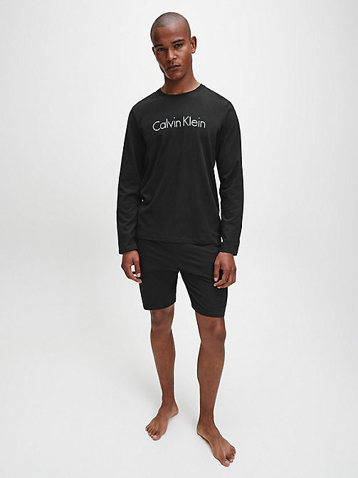CALVIN KLEIN Logo Long Sleeve T-shirt - BLACK - CALVIN KLEIN LOUNGE TOPS - detail image 1