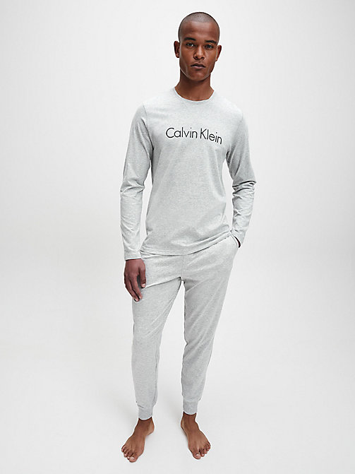 CALVIN KLEIN Logo Long Sleeve T-shirt - HEATHER GREY - CALVIN KLEIN LOUNGE TOPS - detail image 1