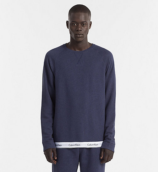 CALVINKLEIN Sweat-shirt - Modern Cotton - BLUE SHADOW HEATHER - CALVIN KLEIN HAUTS DÉTENTE - image principale