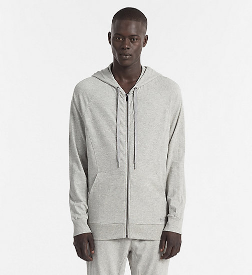 CALVINKLEIN Zip Hoodie - Focused Fit - HEATHER GREY - CALVIN KLEIN LOUNGE TOPS - main image