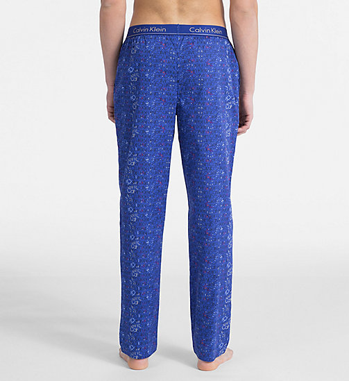 CALVIN KLEIN PJ Pants - BOTANIC LOGO PRINT MAZARINE BLUE - CALVIN KLEIN NEW FOR MEN - detail image 1