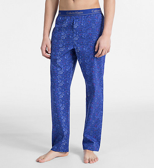 CALVIN KLEIN PJ Pants - BOTANIC LOGO PRINT MAZARINE BLUE - CALVIN KLEIN NEW FOR MEN - main image