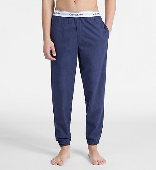 CALVIN KLEIN Joggers - Modern Cotton - BLUE SHADOW HEATHER - CALVIN KLEIN LOUNGE PANTS - main image