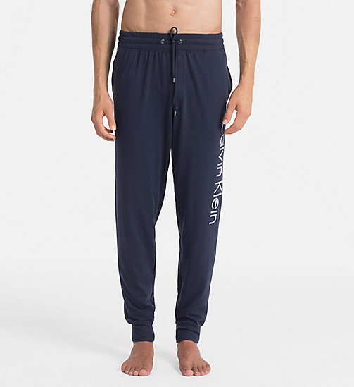 CALVINKLEIN Logo Jogging Pants - BLUE SHADOW W/ WHITE LOGO - CALVIN KLEIN LOUNGE PANTS - main image