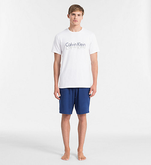 CALVINKLEIN PJ-set - ESTATE BLUE BOTTOM/ WHITE W/ REFELCT LOG - CALVIN KLEIN PYJAMA'S - main image