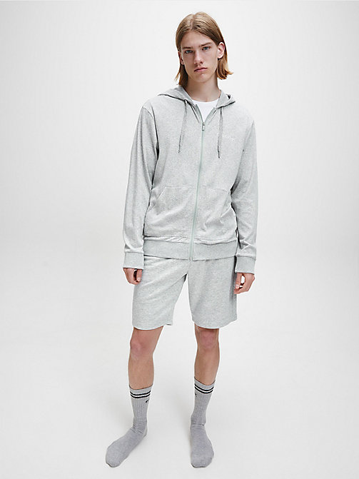CALVINKLEIN Full Zip Hoodie - GREY HEATHER - CALVIN KLEIN LOUNGE TOPS - detail image 1