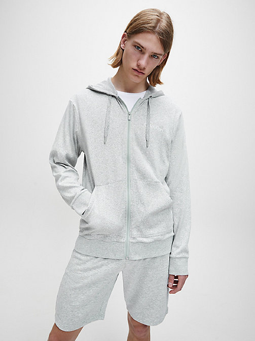 CALVINKLEIN Full Zip Hoodie - GREY HEATHER - CALVIN KLEIN LOUNGE TOPS - main image