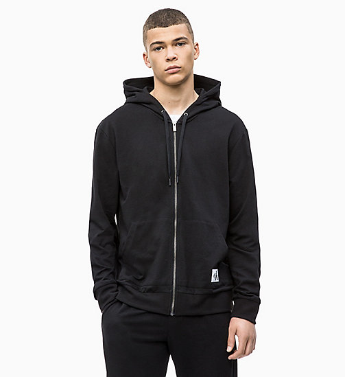 CALVINKLEIN Full Zip Hoodie - Monogram - BLACK - CALVIN KLEIN NEW FOR MEN - main image