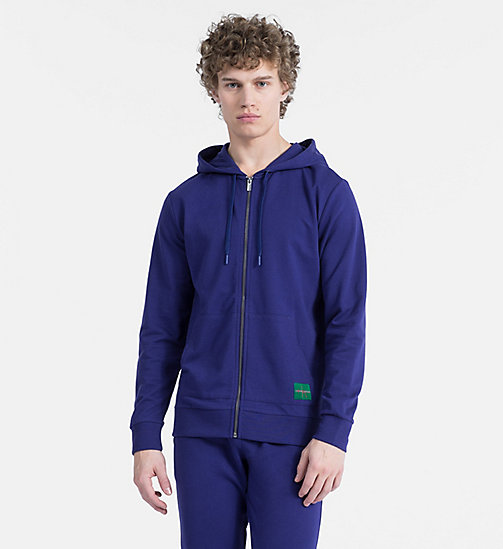CALVIN KLEIN Full Zip Hoodie - Monogram - SHILO BLUE - CALVIN KLEIN MONOGRAM FOR HIM - main image