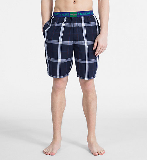 CALVIN KLEIN PJ Shorts - Monogram - CAMPUS PLAID NAVY - CALVIN KLEIN MONOGRAM FOR HIM - main image