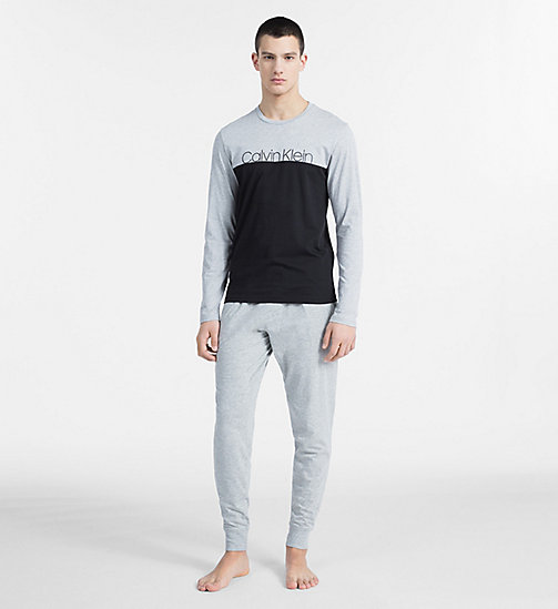 CALVIN KLEIN Logo Long Sleeve T-shirt - Modern Cotton - GREY HEATHER - CALVIN KLEIN LOUNGE TOPS - detail image 1