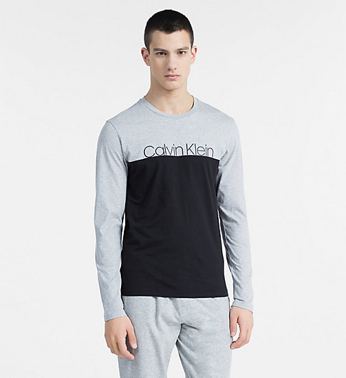 CALVINKLEIN Logo Long Sleeve T-shirt - Monogram - GREY HEATHER - CALVIN KLEIN LOUNGE TOPS - main image