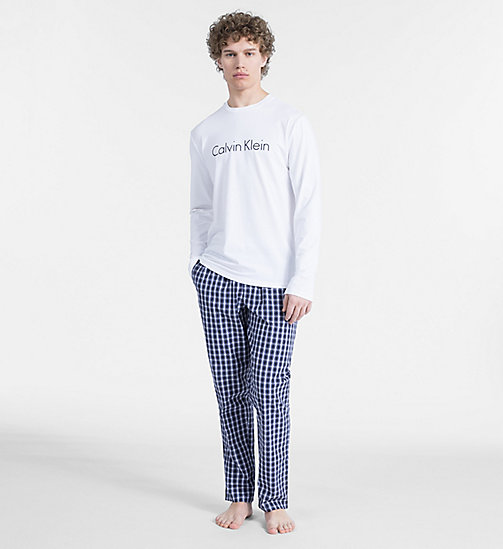 CALVINKLEIN PJ Set - Modern Cotton - WHITE TOP/ STAN PLAID PANT - CALVIN KLEIN PYJAMAS - main image