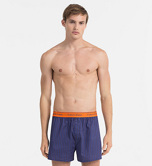 CALVINKLEIN Woven Boxers - STRIKE THROUGH CIRCLES PLACID - CALVIN KLEIN UNDERWEAR - main image