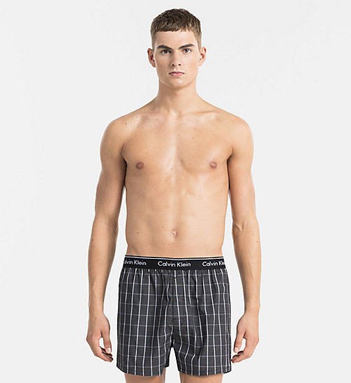 CALVINKLEIN Woven Boxers - RICHARD PLAID BLACK - CALVIN KLEIN UNDERWEAR - main image