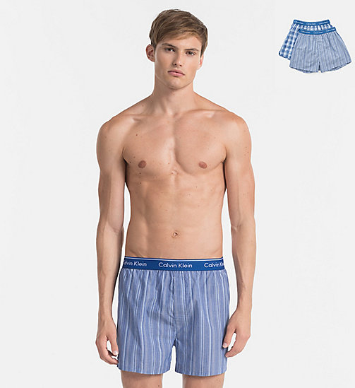 CALVINKLEIN 2 Pack Woven Boxers - LARK PLAID ATALNTIS - GALLAGH - CALVIN KLEIN MULTIPACKS - main image