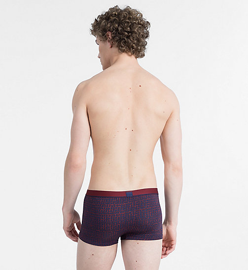 CALVINKLEIN Low Rise Trunks - Calvin Klein ID - STAMPED CHECKS PRINT FIRE BRICK - CALVIN KLEIN NEW FOR MEN - detail image 1