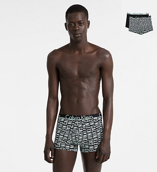 CALVINKLEIN 2 Pack Trunks - Calvin Klein ID - REVERSED LOGO PRINT KEPPEL/BLACK SOLID - CALVIN KLEIN NEW IN - main image