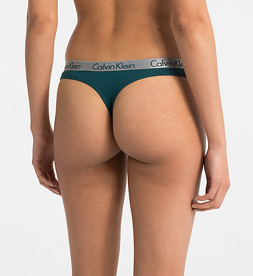 CALVINKLEIN Thong - Radiant Cotton - DARK CYAN - CALVIN KLEIN THONGS - detail image 1