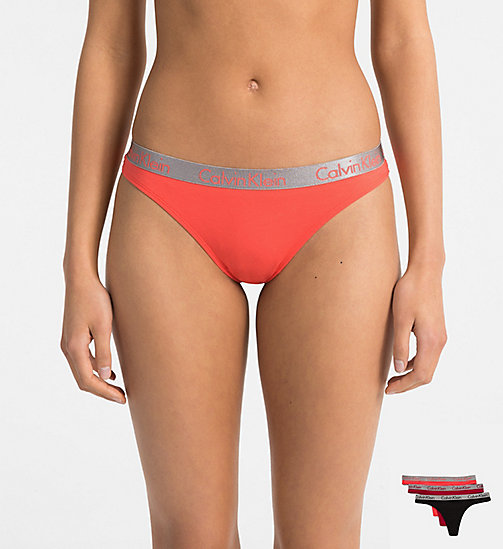 CALVIN KLEIN 3 Pack Thongs - Radiant Cotton - EMBER BLAZE/BLACK/PINK MANGO - CALVIN KLEIN NEW INS - main image