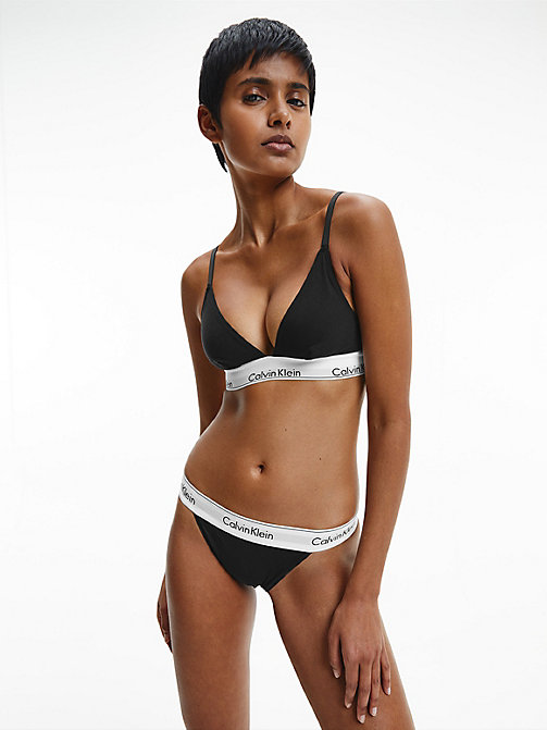 CALVINKLEIN Triangle Bra - Modern Cotton - BLACK -  NEW ICONS - detail image 1