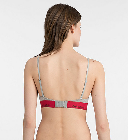 CALVINKLEIN Triangle Bra - Modern Cotton - GREY HEATHER W/ MANIC RED WB - CALVIN KLEIN NEW FOR WOMEN - detail image 1