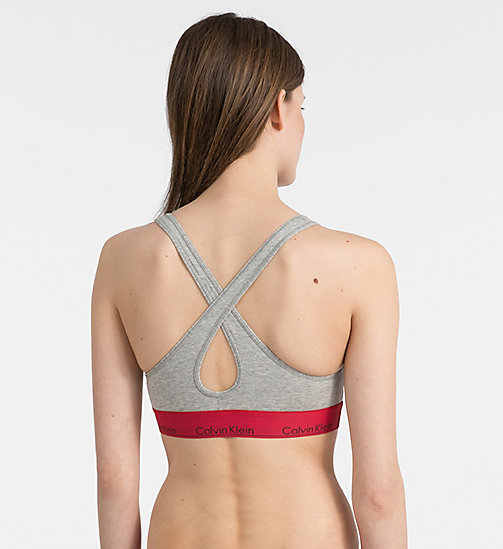 CALVINKLEIN Bralette - Modern Cotton - GREY HEATHER W/ MANIC RED WB - CALVIN KLEIN UNDERWEAR - detail image 1