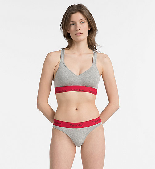CALVIN KLEIN Bralette - Modern Cotton - GREY HEATHER W/ MANIC RED WB - CALVIN KLEIN BRALETTE - detail image 1