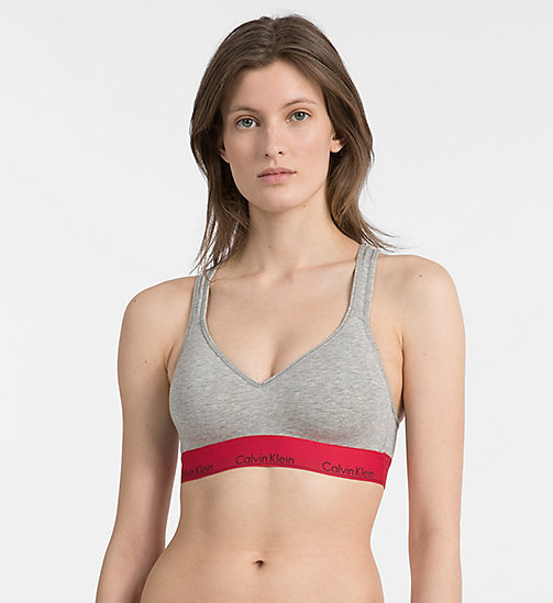 CALVIN KLEIN Bralette - Modern Cotton - GREY HEATHER W/ MANIC RED WB - CALVIN KLEIN BRALETTE - main image
